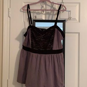 Tank with black lace accent